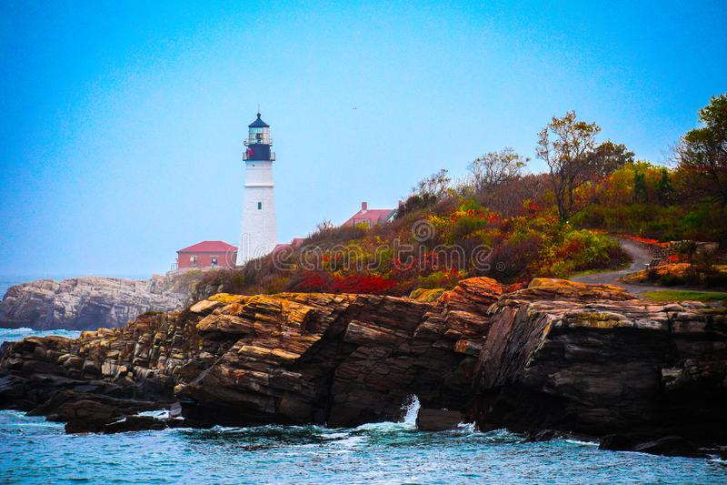 Headlight Lighthouse. In the fall royalty free stock photo