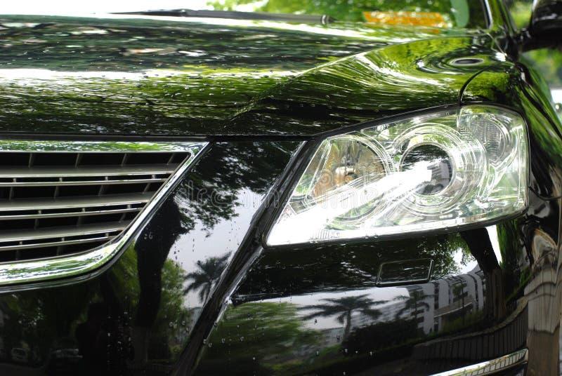 The headlight of a luxury car stock photo