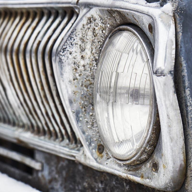 Headlight of old soviet car stock image
