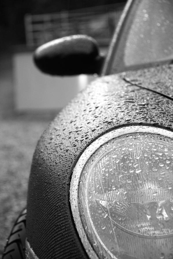Headlight raindrops stock image