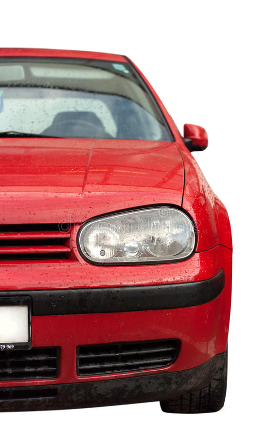 Headlight of red car stock photography