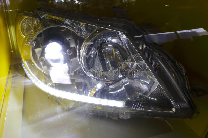 Headlights. New front light turn the switch stock photos
