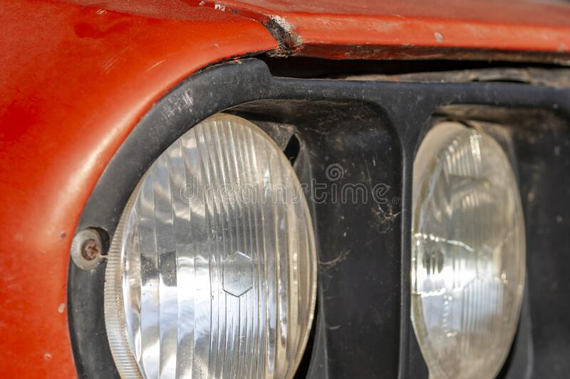 Headlights on an old car.  royalty free stock image