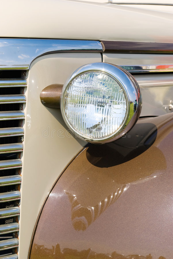 Headlight in old brown car royalty free stock images