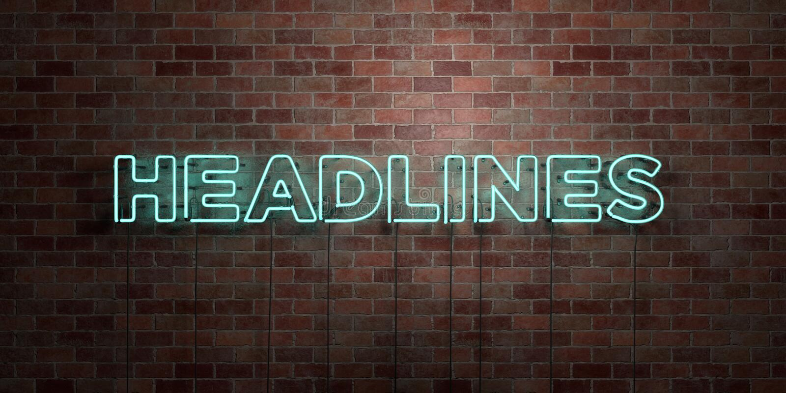 HEADLINES - fluorescent Neon tube Sign on brickwork - Front view - 3D rendered royalty free stock picture. Can be used for online banner ads and direct mailers stock illustration