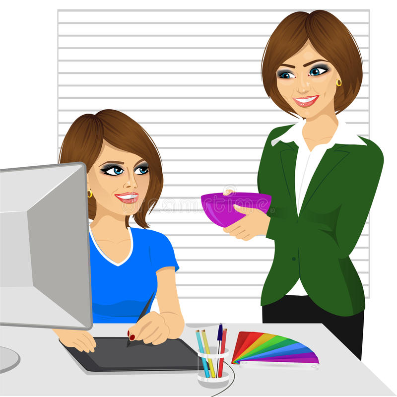 Headmistress comes to treat her subordinate working as graphic designer with homemade food at office stock illustration