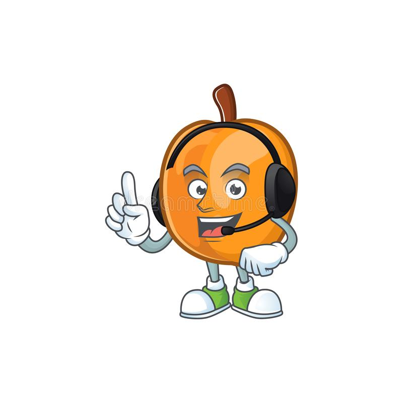 With headphone apricot fruit in the cartoon shape. Vector illustration royalty free illustration