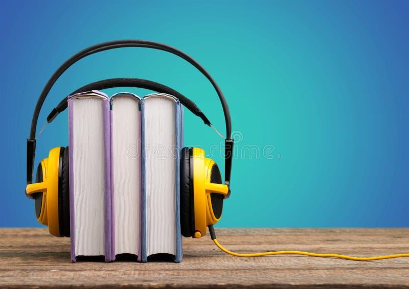 Headphone. Audio library storytelling wire audiobook blue stock photo