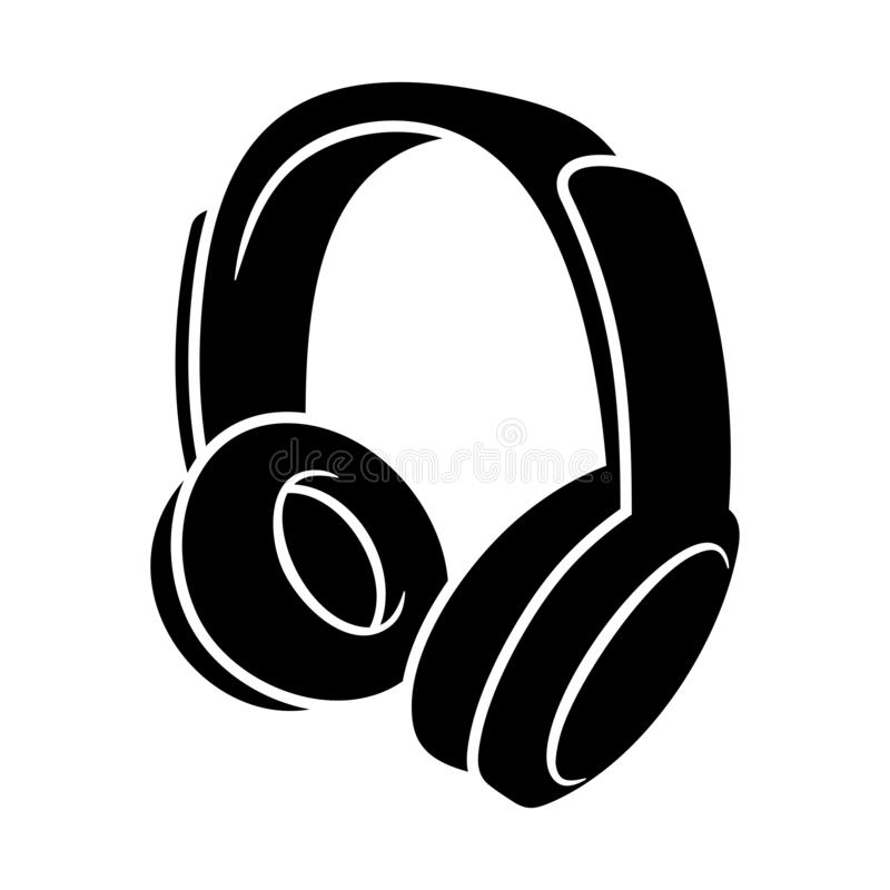 Free Headphone Black Icon Isolated On White Vector Illustration Royalty Free Stock Photos - 138372498