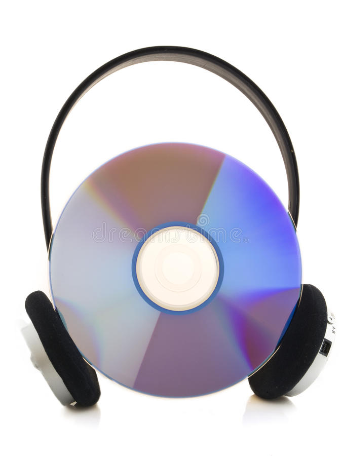Headphone with cd. A headphone with cd on a white background royalty free stock photos