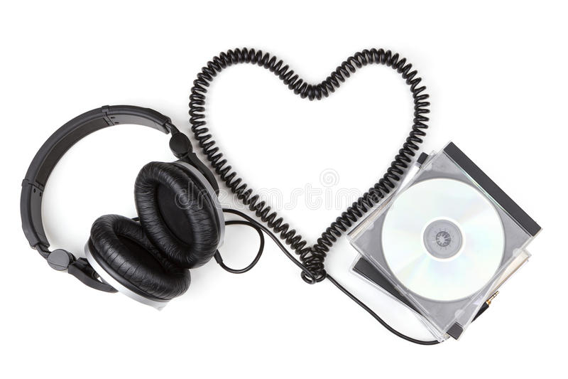 Headphone cord from a heart shape stock photography