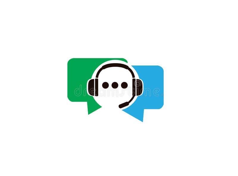 Headphone eller hörlurar med mikrofon inom pratstundkommunikationssymbol och kundtjänst för logodesign stock illustrationer
