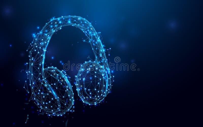 Headphone från linjer och trianglar, punktförbindande nätverk på blå bakgrund stock illustrationer