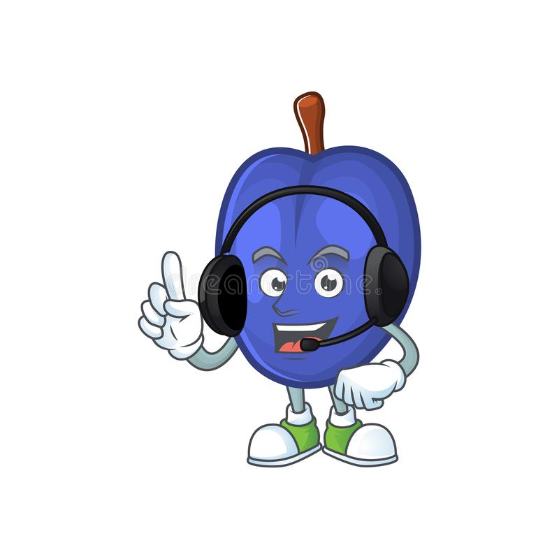With headphone fruits prune character on white background. Vector illustration royalty free illustration