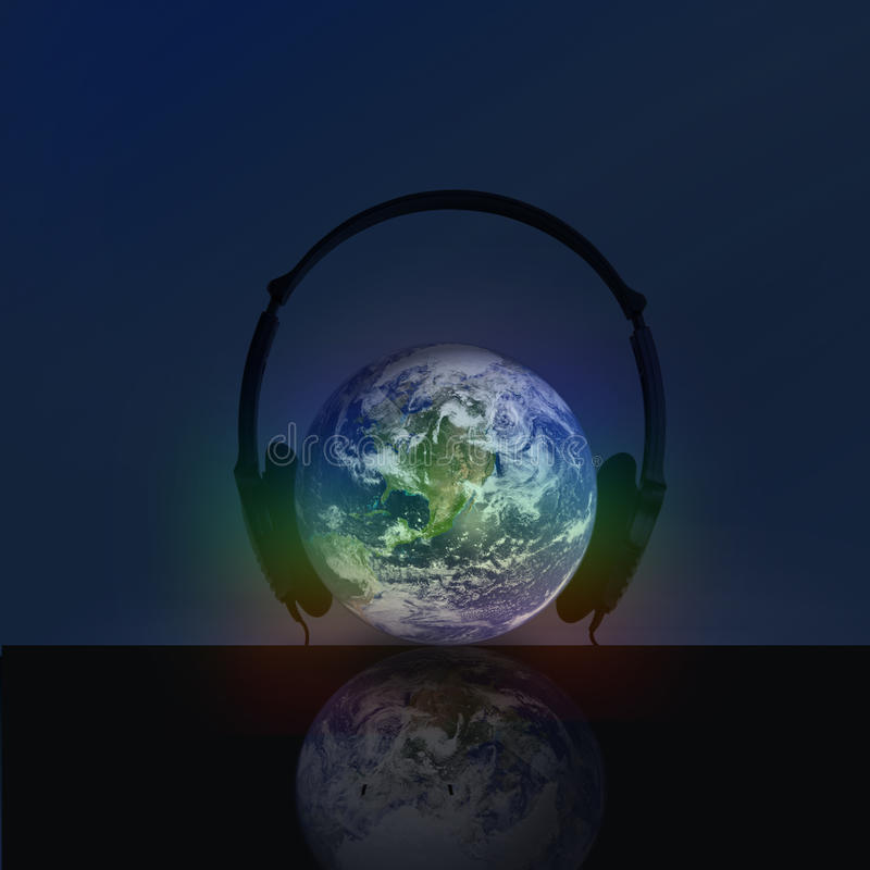 Download HEADPHONE WITH  GLOBE stock photo. Image of performance - 13952922