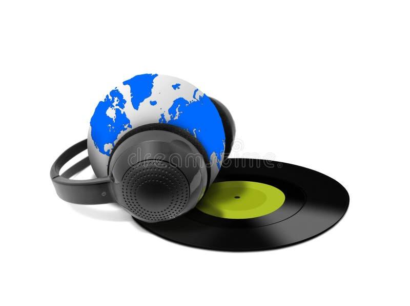 Headphone And Globe With Vinyl Record Royalty Free Stock Photos