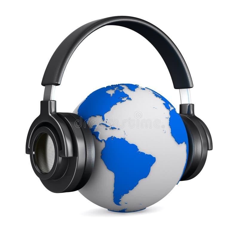 Headphone And Globe On White Background Royalty Free Stock Photos