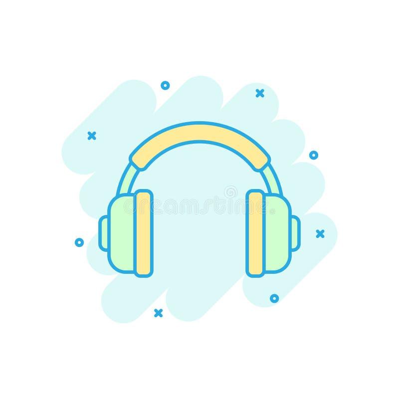 Headphone headset icon in comic style. Headphones vector cartoon illustration pictogram. Audio gadget business concept splash. Effect vector illustration