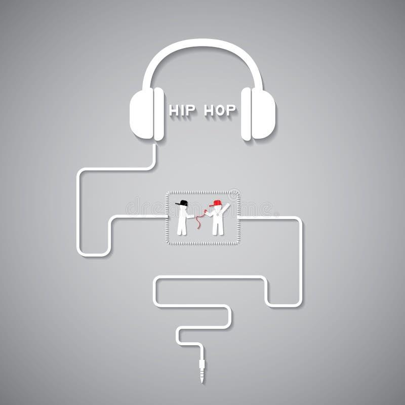 Headphone hiphop vektor illustrationer