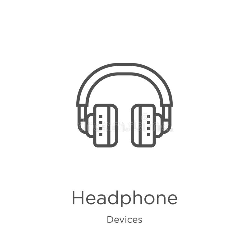 Headphone icon vector from devices collection. Thin line headphone outline icon vector illustration. Outline, thin line headphone. Headphone icon. Element of royalty free illustration