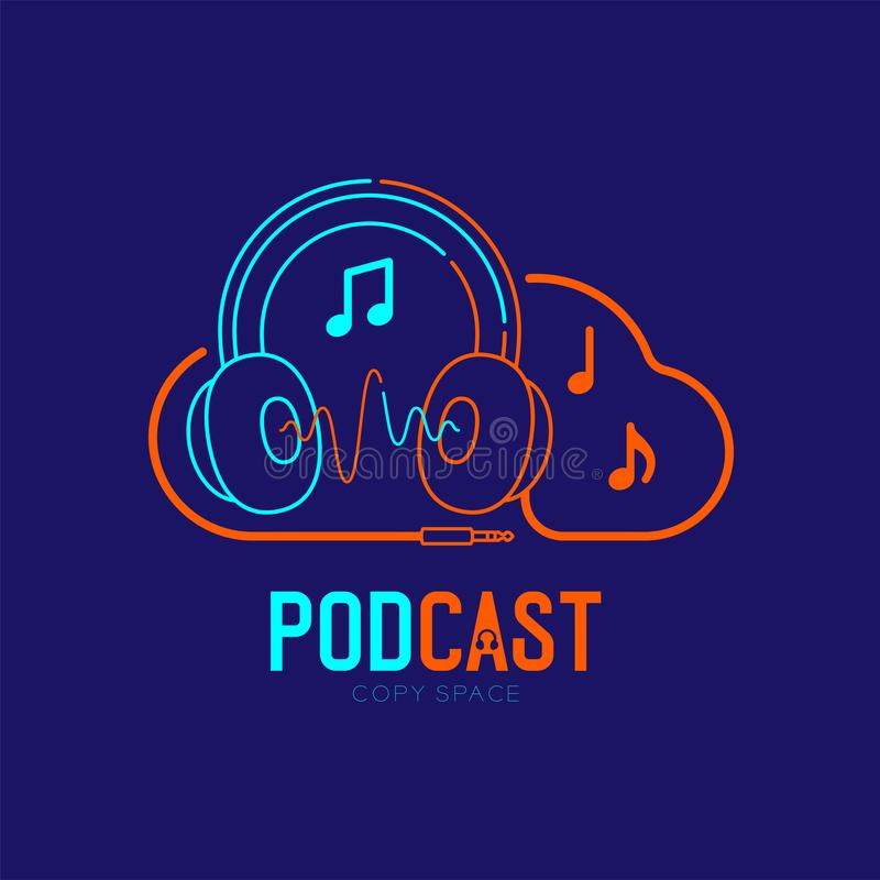 Headphone logo icon outline stroke with cloud shape frame cable dash line design, Podcast internet radio program online concept royalty free illustration