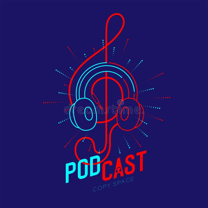 Headphone logo icon outline stroke with music note Treble Clef shape from cable dash line, Podcast internet radio program online royalty free illustration