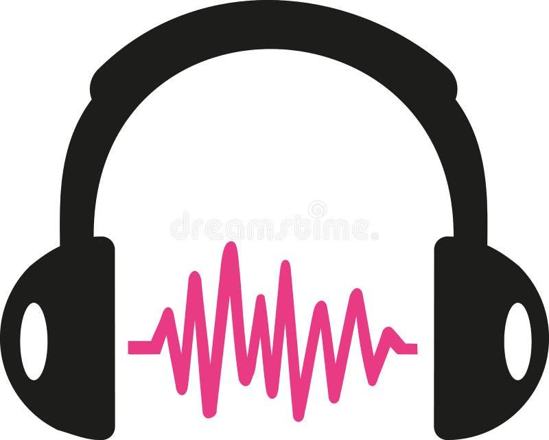 Headphone med den rosa solida vågen vektor illustrationer