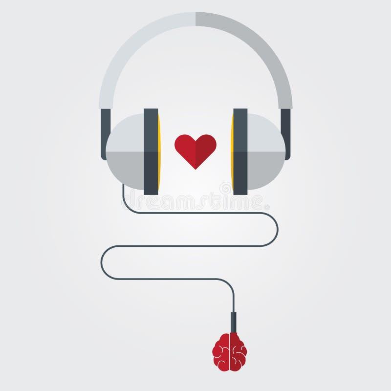 Headphone med hjärnan och hjärta i plan design stock illustrationer