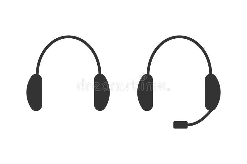 Headphone med mic, hörlursymbol royaltyfri illustrationer