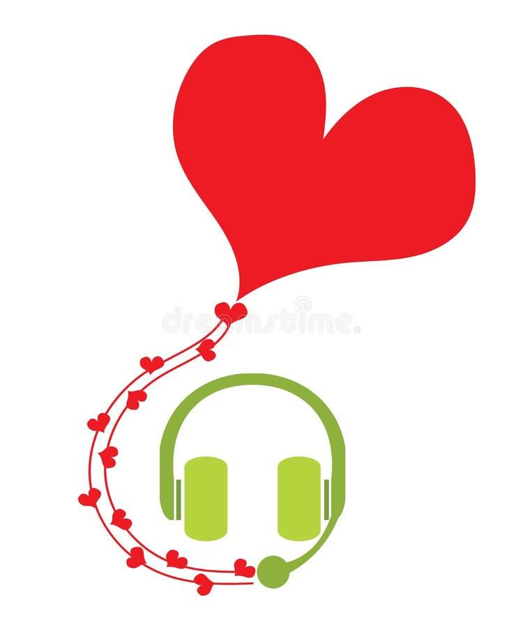 Headphone med mikrofonanförandebubblan med röd hjärta för s royaltyfri illustrationer
