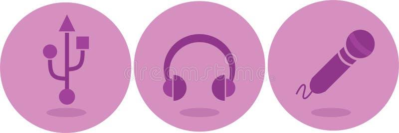 Headphone, mikrofon och USB symboler royaltyfri illustrationer