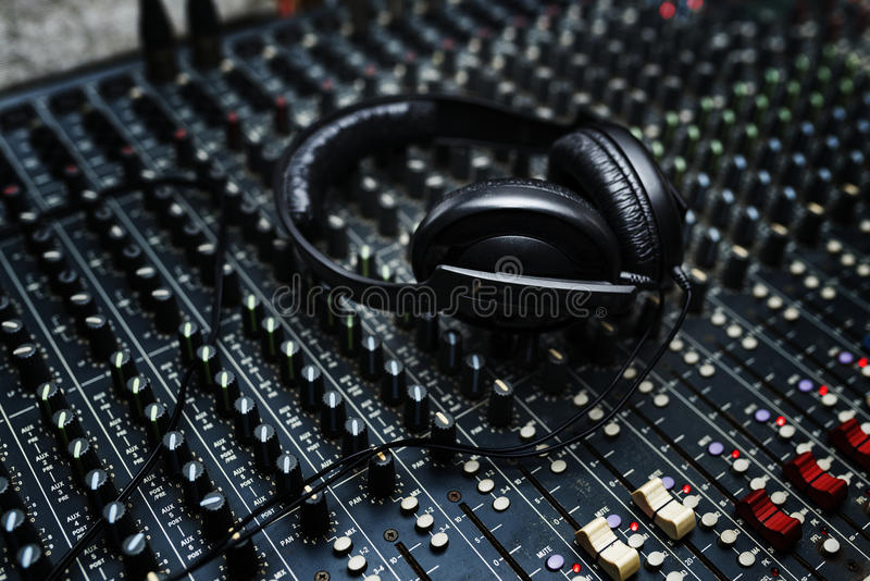 Headphone is on mixer equipment entertainment DJ station royalty free stock photography