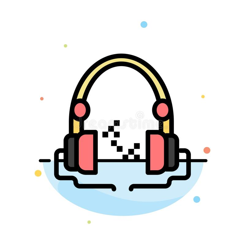Headphone, Music, Audio, Hand free Abstract Flat Color Icon Template vector illustration
