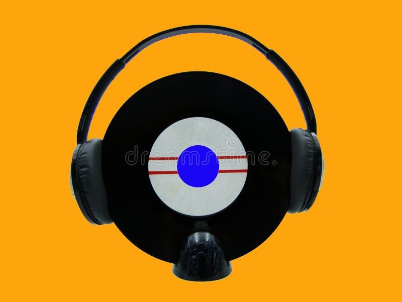 Headphone music icon. Zine culture style. Studio shot royalty free stock photo
