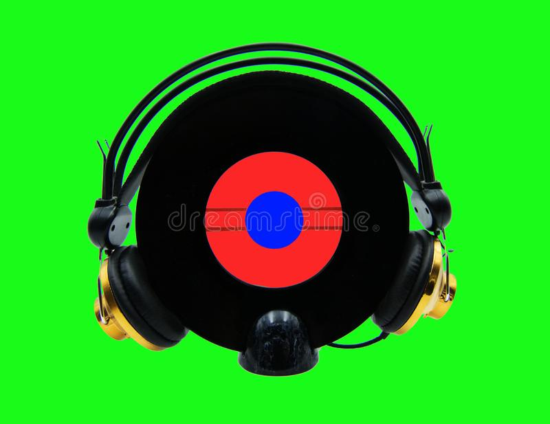 Headphone music icon. Zine culture style. Studio shot stock photos