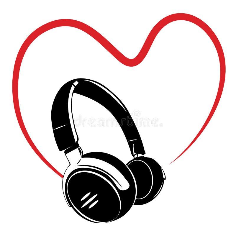 Headphone och hjärta vektor illustrationer