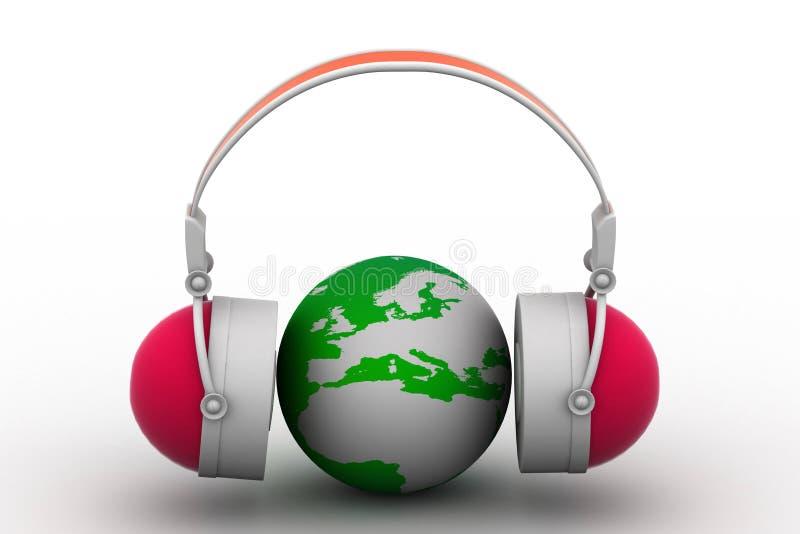 Headphone och jordklot royaltyfri illustrationer