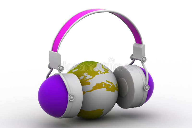 Headphone och jordklot stock illustrationer