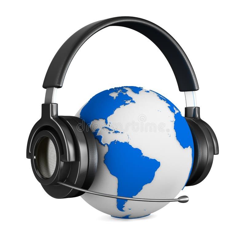 Headphone och jordklot på vitbakgrund stock illustrationer