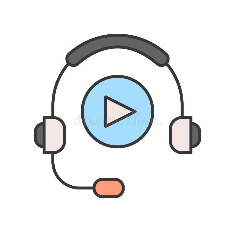 Headphone och lekknapp, teknologi och e-lära redigerbart s vektor illustrationer