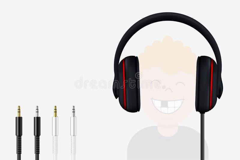 Headphone och Mini Jack Plugs Glad pojke som lyssnar till musik royaltyfri illustrationer