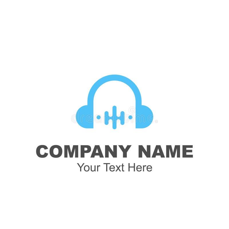 Headphone- och utjämnarelogodesign stock illustrationer