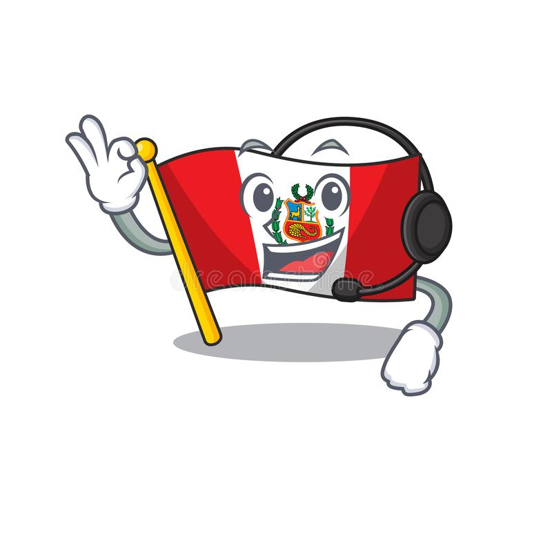 With headphone peru flag stored in character drawer. Vector illustration vector illustration