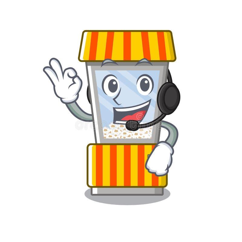 With headphone popcorn vending machine in mascot shape. Vector illustration royalty free illustration