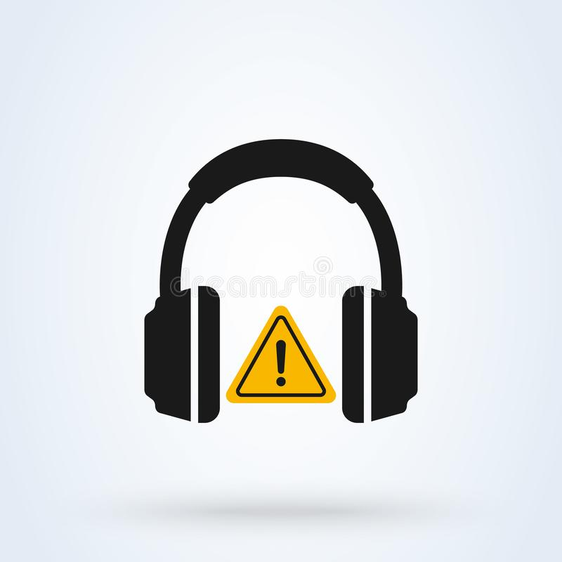Headphone Simple vector modern icon. Ear protection sign, mandatory hearing protection royalty free illustration