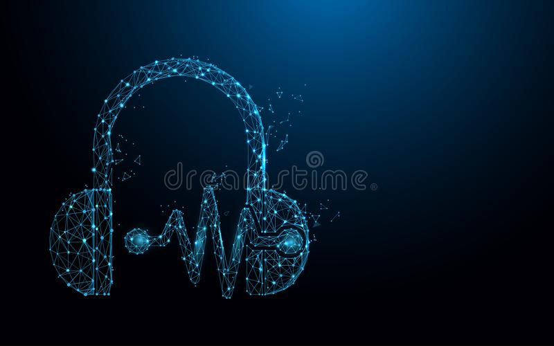 Headphone and sound waves form lines, triangles and particle style design. Illustration vector stock illustration