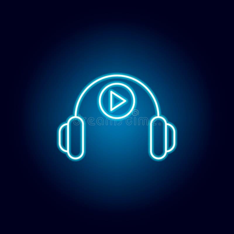 headphone teknologiöversiktssymbol i neonstil beståndsdelar av utbildningsillustrationlinjen symbol tecknet symboler kan användas royaltyfri illustrationer