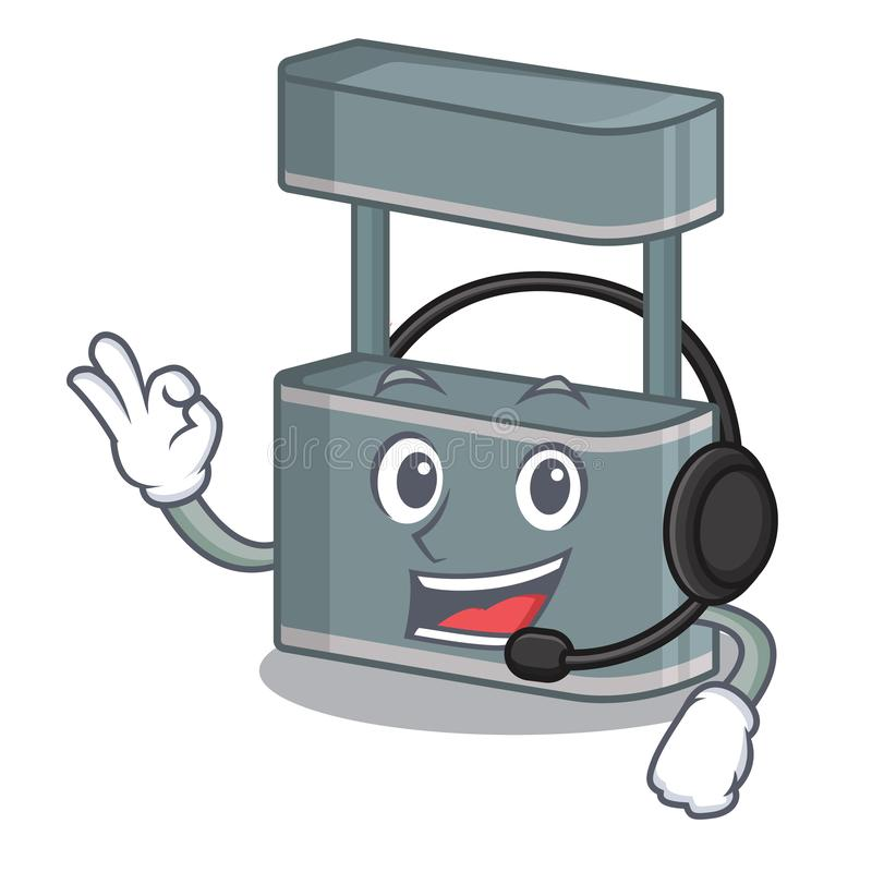 With headphone toy trade stand on a mascot. Vector illustration stock illustration