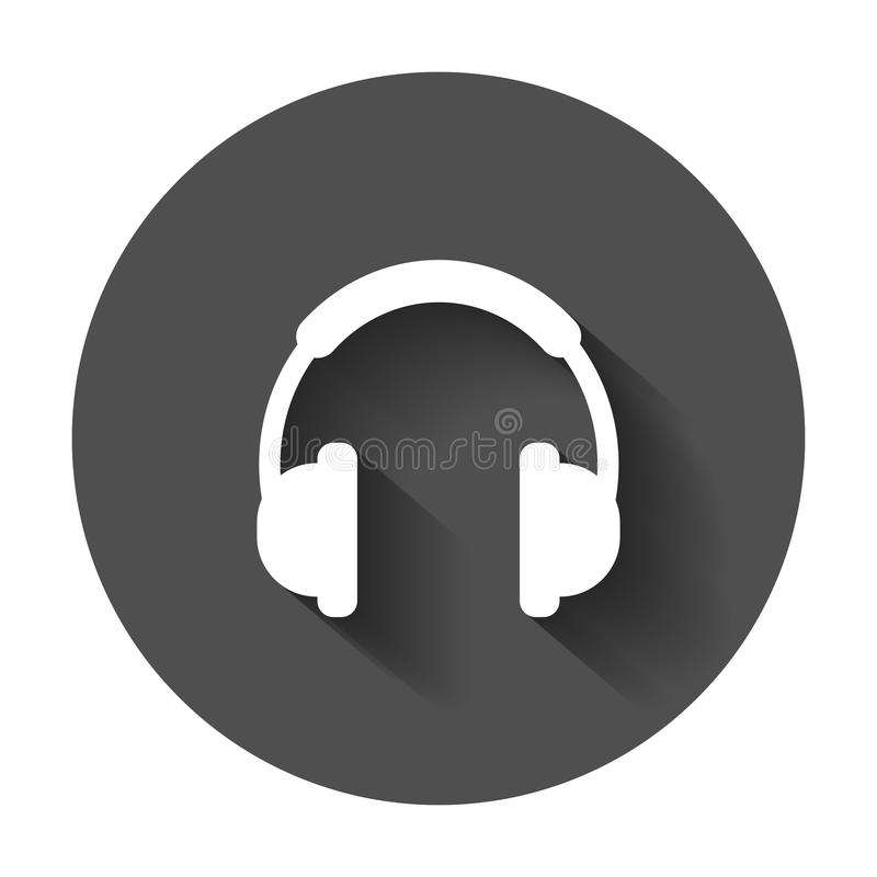 Headphone vector icon. Earphone headset sign illustration on black round background with long shadow. stock illustration