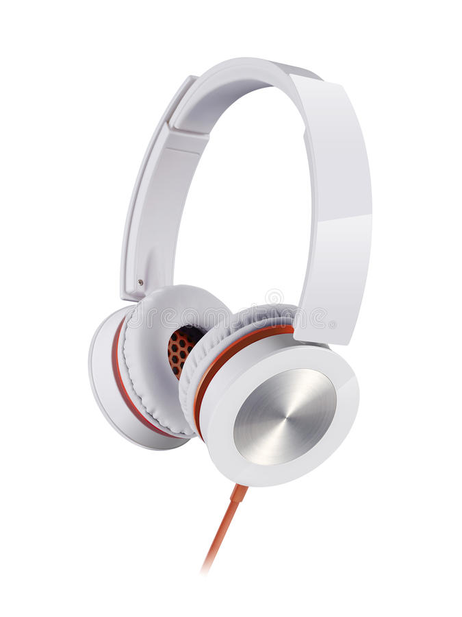 Headphone. White headphone with red wire on white background royalty free stock photography